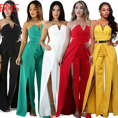 BNS 2019 Elegant Evening Strapless Jumpsuit  Thigh High Split  Wide Leg Jumpsuits without Blet black s