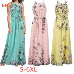BNS 2019 New Beach Style Dress Women's Bohemian Style Print Party Long Dress Plus Size 6XL 5xl pink