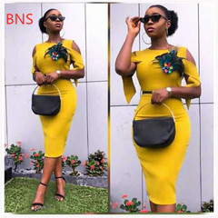 BNS 2019  elegent new arrival fashion style african women summer plus size knee-length dress M-XXL xxl yellow