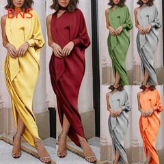 BNS 2019 Womens Irregular Long Maxi Dress One-shoulder Split Evening  Solid Elegant DressVestidos xl gray