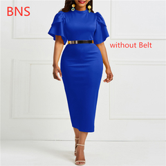 BNS 2019 Summer office ladies   ruffle zipper  bodycon midi dresses sheath slim without Belt m blue