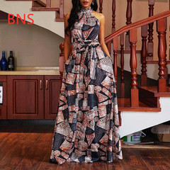 BNS 2019 Summer Women Elegant Long Dress Off Shoulder Evening   Party Sexy Halter Maxi Dresses m multicolor