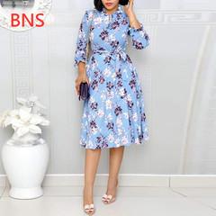 BNS 2019   Flora Printed Office Lady Wrist Sleeve Knee-Length Wrap Belt Dress Slim Fit O-Neck Dress s blue