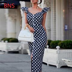 BNS 2019 women Fashion Sleeveless Plus Size V-Neck Slim Dot Fork Bodycon Dress s navy