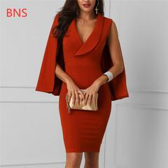 BNS 2019 Elegant Bodycon Cloak Dress Ladies Sleeveless Sheath Work Office Midi Dress Formal Dress s red