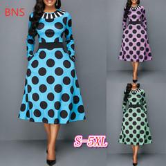 BNS 2019  Plus size  African Women clothing Dashiki fashion Print elastic cloth long sleeve dress s blue