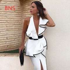 BNS 2019 Ruffles Asymmetrical Sexy Dress Women Sleeveless Elegant Bodycon Long Dress  Vestido s white
