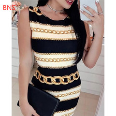 BNS 2019 New sexy print chain striped tight dress fashion round neck sleeveless mini dress s multicolor