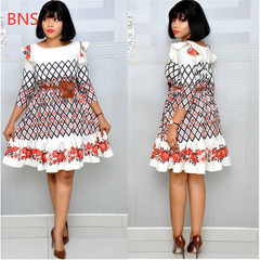 BNS 2019 new african print elastic bazin dress style dashiki famous for lady summer clothes l multicolor