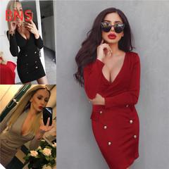 BNS 2019 V-Neck Elegant  Buttons New Women Dresses Sheath Sexy Clubwear Office Party Dress s black