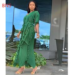 BNS 2019 classic African women Dashiki fashion Ruffled flounce loose v-neck  dress free size one size blue