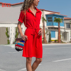 BNS 2019 new  Casual Style Office Lady OL Sashes Irregular Button Robe Femme Vacation Beach Dress s blue