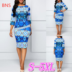 BNS 2019 Plus Size Women Dress Office Lady Print  O-neck Empire Mid-calf Pencil Dress Ladies Dress l blue