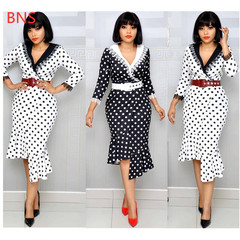 BNS 2019 Summer Women  V Neck Polka Dot Dress Slim Fit Irregular Women Midi Dress Lady Sexy Vestidos m black