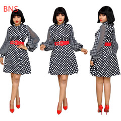 BNS 2019 Summer Women Polka Dot Dress Office Lady  Lantern Sleeve Dress Female Elegant OL Belt Dress xl black
