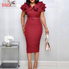 NS 2019 Summer Women Mid-Calf Falbala Short Sleeve Pullover Plain Ruffle Elegant  Bodycon midi Dres l burgundy
