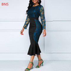 BNS 2019 Plus size 5XL Mesh Lace Embroider Women  Dress  Slim Office Hollow Out Long Mermaid s blue