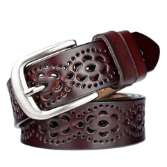 Women's Fashion Wide Leather Belt Flower Carved Leather Belt Jeans High Quality Women's Belt Retro Coffee 115cm