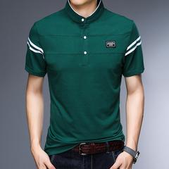 Fashion Men's T-Shirt Short Sleeve Wenhua Collar T-Shirt Top and T-Shirt Men's T-Shirt Men's Apparel 1 m cotton
