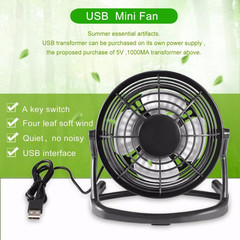 Cooling fan USB mini fan gadget DC 5V small desk USB fan 4 blade for PC laptop laptop gadget black
