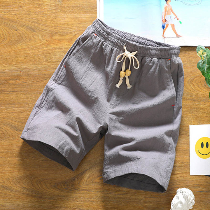 Summer new cotton shorts loose men's casual shorts drawstring waist shorts men 1 m