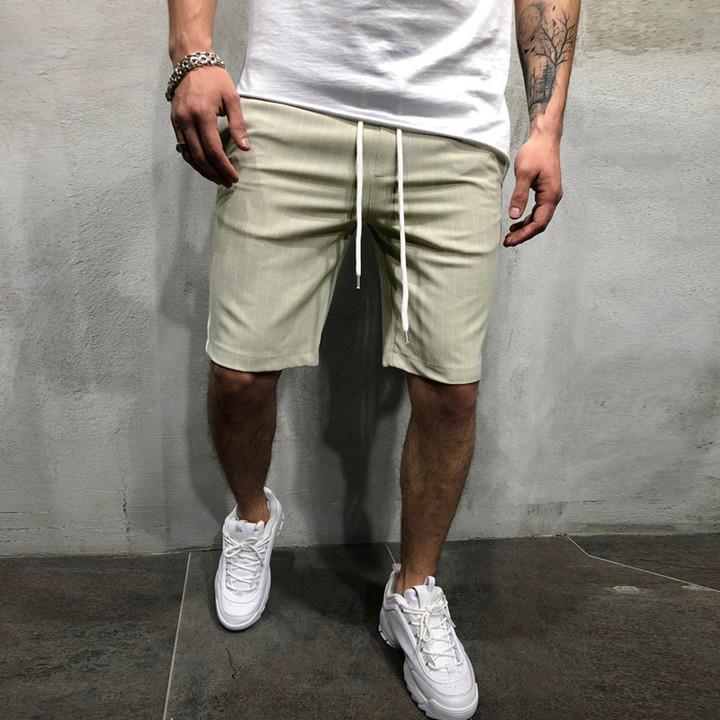 Men's Casual Shorts Striped Patchwork Pocket Drawstring Men's Sports Casual Pants Men 1 m