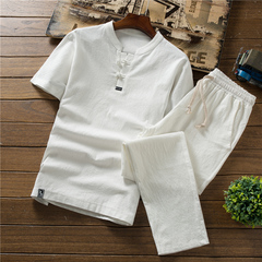 Summer thin linen set men's cotton short-sleeved T-shirt solid color trousers 1 3xl cotton