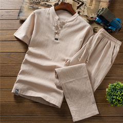 Summer thin linen set men's cotton short-sleeved T-shirt solid color trousers 4 m cotton