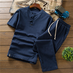 Summer thin linen set men's cotton short-sleeved T-shirt solid color trousers 3 m cotton