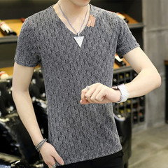 2019 Men's Sexy Hollow Hole T-Shirt Men's Summer Breathable V-neck Short Sleeve T-Shirt 1 4xl cotton