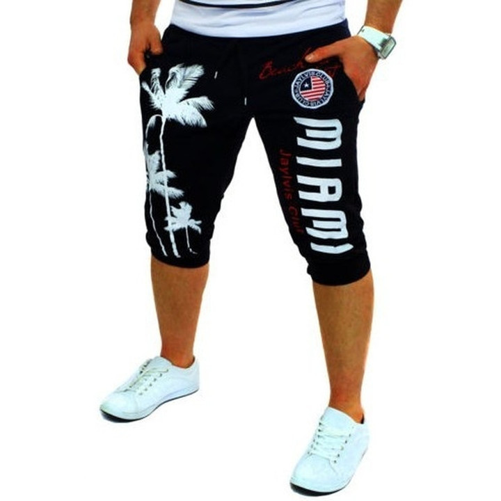 Summer men's knee long shorts color patchwork jogger short sports pants trousers 1 m