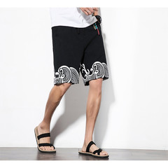 Chinese casual shorts men's drawstring wave print street men's shorts 1 m