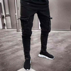 2019 fashion black denim men's denim jeans worn out slim slim pockets cargo pencil pants 1 l
