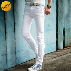 High quality 2019 fashion Slim male white jeans men's pants tight pencil pants boy hip hop 1 34