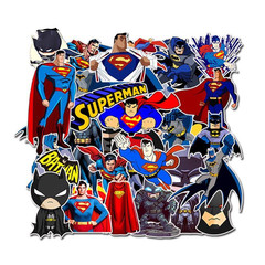 45Pcs Superman Batman Sticker Doodle Sticker Pack Skateboard Suitcase Notebook Motorcycle Decal