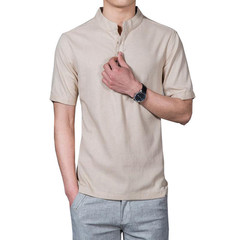 2019 Men's Fashion T-Shirt Solid Color Short Sleeve T-Shirt Top Linen T-Shirt XL 5XL 4 4xl cotton