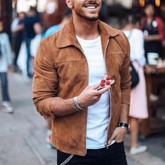 Fashion men's suede leather jacket slim jacket jacket fashion streetwear 2 xl