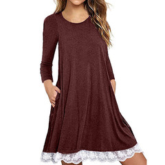 Large size dress O-neck lace solid color long-sleeved loose dress cotton blend casual dress xl 1