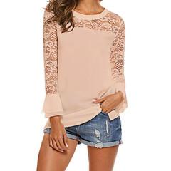 Women's Shirts Summer White Lace Chiffon Shirt Casual Tops Ruffled Shirts Fashion 1 s