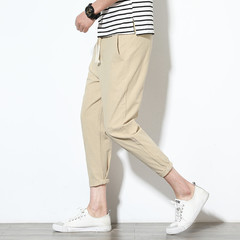 2019 high quality summer casual pants natural cotton linen trousers white stretch trousers men 1 m