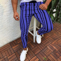 2019 new men's tight-fitting striped striped casual high pants 1 m