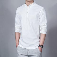 2019 Men's Tops & Men's Fashion Stand Collar Long Sleeve Slim Fit Shirt Linen T-Shirt 1 m