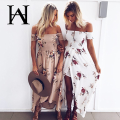 European and American wrapped chest print dresses seaside holiday beach dresses summer ins skirt XXXL apricot