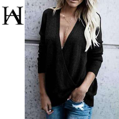 Women's Cardigan Solid Color Loose Wool Long Sleeve Large V-neck Stitching Rib Crossover Sweater black S