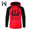 New Style Lover Hoodies Fashion King Queen Couple Hoodies Men's and Women's Printed Couple Sweatshir male red l