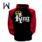 Best selling Queen & King fashion hood plus velvet hooded couples printed long-sleeved sweater male black m