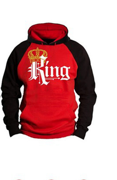 Best selling Queen & King fashion hood plus velvet hooded couples printed long-sleeved sweater male red l