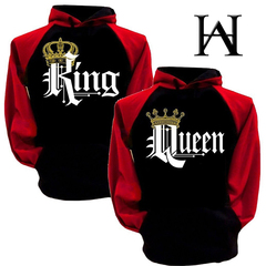 Best selling Queen & King fashion hood plus velvet hooded couples printed long-sleeved sweater male black s