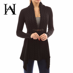 New Autumn And Winter Cardigan Women Long Sleeve Knitted Sweater Loose Coat With Belt Elegant black s