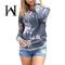 Women's Hoodie Tops Floral Print Long Sleeve Drawstring Sweatshirt Pocket Round Neck Loose Turtlen gray s